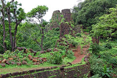 Cabo de Rama Fort Ruins. Ruins of turret and other structures of Cabo de Rama Fort in Goa, India. A centuries old fort, last owned by the Portuguese during their royalty free stock images