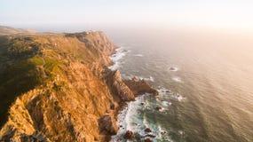 Cabo de Roca на виде с воздуха захода солнца Стоковое Изображение RF