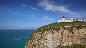 Cabo de Roca - fyr på kusten av Portugal arkivbilder