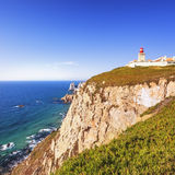 Cabo de Roca landscape. Portugal. Cabo de Roca, Portugal is the westernmost extent of continental europe. The lighthouse overlooking Atlantic Ocean Royalty Free Stock Image