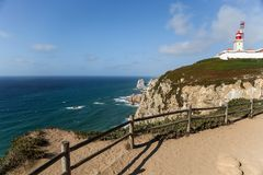 Cabo de Roca, Portugal stockfotos