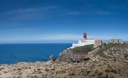 Cabo DE Sao Vincente vuurtoren - het meeste zuidwestelijk punt van Europa stock foto's