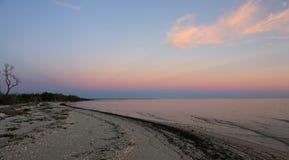 Cabo del este de los marismas en la puesta del sol Imagenes de archivo