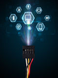 Cabo elétrico com ícones dos multimédios Imagem de Stock