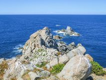 Cabo Estaca de Bares,  the northernmost point of the Iberian Peninsula, Galicia. Punta de Estaca de Bares is the northernmost point of Spain and the Iberian Royalty Free Stock Photos