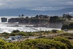 CABO FOULWIND, NUEVA ZELANDA - 14 DE FEBRERO: Vista del cabo Foulwind Imágenes de archivo libres de regalías