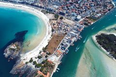 Cabo Frio, Brazil: Aerial view of a fantastic beach with crystal water. royalty free stock photos