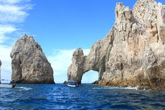 CABO GLASS BOTTOM BOAT EXCURSION AT EL ARCO Royalty Free Stock Photos