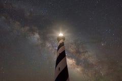 Cabo Hatteras sob a galáxia da Via Látea Fotos de Stock