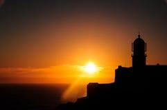 Cabo helgonVicentes fyr under solnedgång Fotografering för Bildbyråer