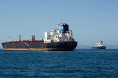 Cabo Hellas Oil Tanker. Anchored offshore Royalty Free Stock Images