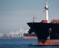 Cabo Hellas Oil Tanker. Anchored offshore Royalty Free Stock Photography