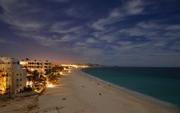 Cabo Night Life. Costa Azul Beach in Los Cabos Mexico at night stock images