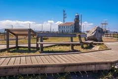 Cabo Peñas灯塔在阿斯图里亚斯 免版税库存图片