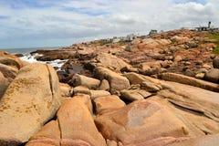 Cabo Polonio岩石 图库摄影