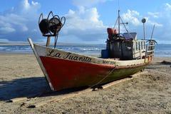 Cabo Polonio fiskebåt Arkivbilder