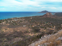 Cabo Pulmo village. At the sea of Cortez Baja Mexico. Baja peninsula is a sparsely populated semi arid area with large uninhabited areas. Sea of Cortez in the Royalty Free Stock Photo