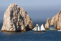 Cabo Rocks and Sailboat 2. Sailboat at rocks on souther tip of Baja Mexico Royalty Free Stock Images