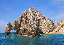 Cabo San Lucas Arch (El Arco) and Lovers beach. Landscape with Cabo San Lucas Arch (El Arco) and Lovers beach Royalty Free Stock Photos