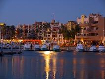 Cabo San Lucas, Jachthaven bij nacht Royalty-vrije Stock Foto's