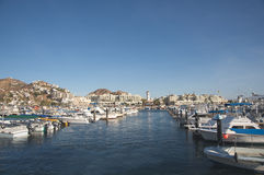 Cabo San Lucas marina. Lots of boats during a sunny day. Mexico Stock Images