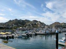 Cabo San Lucas Marina avec des bateaux Photographie stock libre de droits