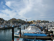 Cabo San Lucas Marina avec des bateaux Images stock