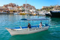 Cabo San Lucas marina on Baja California, Mexico. Royalty Free Stock Images