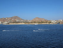 Cabo San Lucas, Mexico. Image of Cabo San Lucas shore line with resort hotels and boating activity Royalty Free Stock Photo