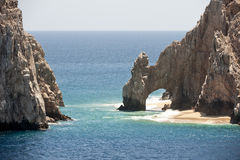 Cabo San Lucas rock arch. Scenic view of Land Ends, El Arco rock arch between Sea of Cortez and Pacific ocean, Cabo San Luca, Baja California, peninsula, Mexico Stock Images