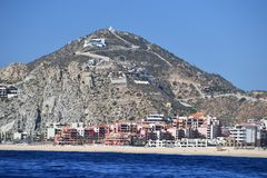 Cabo San Lucas view from Pacific ocean stock photos