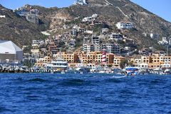Cabo San Lucas view from Pacific ocean stock images