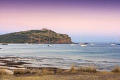 Cabo Sounio no crepúsculo imagens de stock
