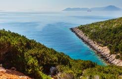 Cabo sul da ilha de Lefkas, Grécia imagens de stock