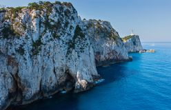 Cabo sul da ilha de Lefkas, Grécia fotografia de stock