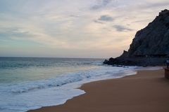 Cabo, tramonto della spiaggia del Messico Fotografia Stock