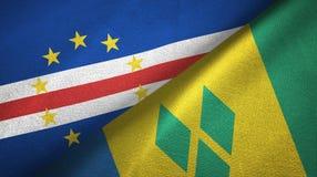Cabo Verde και Άγιος Βικέντιος και Γρεναδίνες δύο υφαντικό ύφασμα σημαιών διανυσματική απεικόνιση