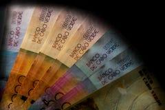 Cabo Verde 5000, 2000, 1000, billetes de banco de 500 escudos imagen de archivo