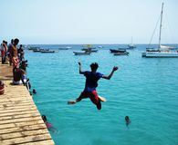 Cabo Verde die - springen Royalty-vrije Stock Afbeeldingen