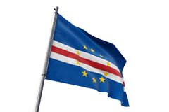 Cabo Verde flag waving isolated white background 3D illustration. Cabo Verde flag waving isolated white background on the wind royalty free illustration