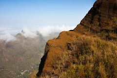 Cabo Verde mountain edge Santo Antao landscape royalty free stock images