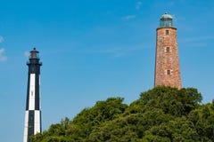 Cabo viejo y nuevo Henry Lighthouses en Virginia Beach imagen de archivo libre de regalías
