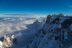 Cabografe a estação de trem no pico de Zugspitze, Alemanha Foto de Stock Royalty Free