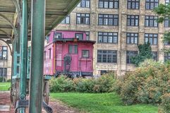 Caboose at the Muskegon train depot Royalty Free Stock Photography