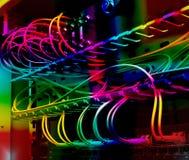 Cabos óticos da fibra conectados a um interruptor Fotos de Stock Royalty Free