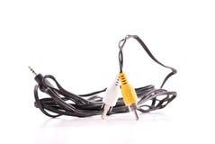 Cabos amarelos e brancos da conexão Foto de Stock