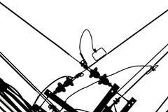 Cabos claros em minimalista preto e branco do sumário branco do céu para o projeto imagens de stock royalty free