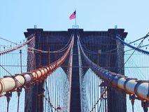 Cabos da ponte de New York Brooklyn Foto de Stock
