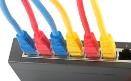 Cabos da rede conectados ao roteador Fotografia de Stock Royalty Free