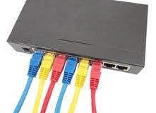 Cabos da rede conectados ao roteador Imagem de Stock